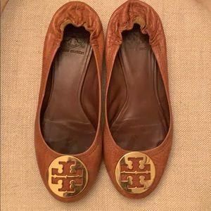 Tan Tory Burch Ballet Flats